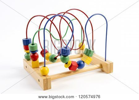 Bead roller coaster toy on white background
