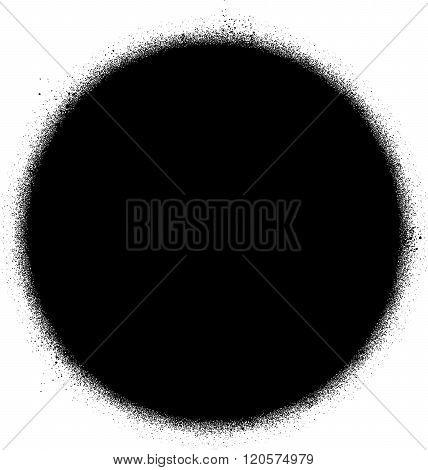 graffiti sprayed circle design element in black on white