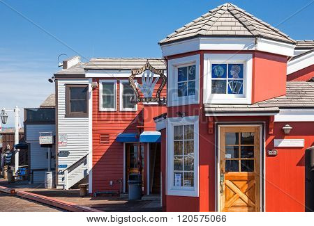 Santa Barbara, U.S.A. - June 1, 2011: Traditional colored houses in the Stearns Wharf on the sea front