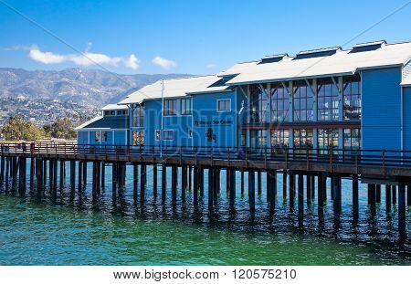 Santa Barbara, U.S.A. - June 1, 2011: The Stearns Wharf built on stilts in the sea front.
