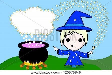Kawaii Magician In A Blue Dress