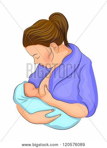 illustration of mom and her child. breastfeeding.