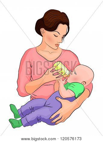 illustration of mom and her child. the milk in the bottle..