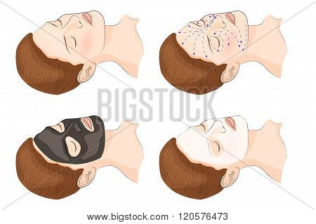 illustration of the face and cosmetic mask