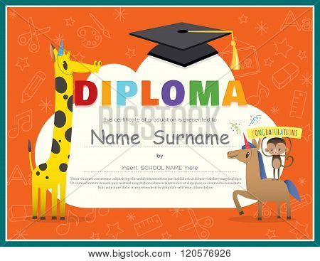 Primary School Kids Diploma Certificate Design Template