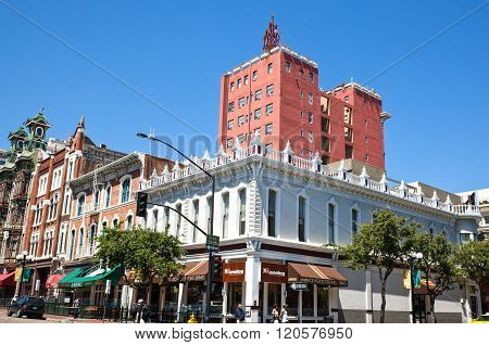 San Diego, U.S.A. - June 2, 2011: California, the traditional buildings of the Gas Lamp quarter