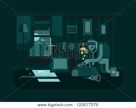 Burglar in the apartment