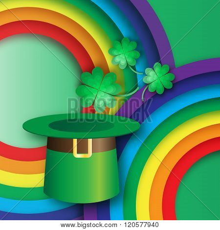Green St. Patrick's Day with hat rainbow and clover.