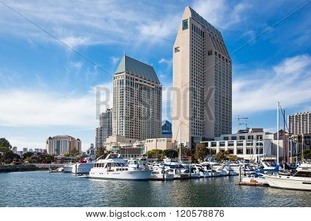 San Diego, U.S.A. - June 2, 2011: The city towers and marina  seen from the Seaport village.