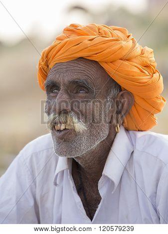 Portrait Indian Man In Pushkar. India