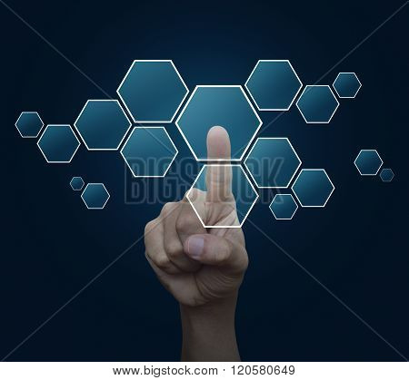 Man Hand Pushing Blank Modern Virtual Technology Screen Icon Over Blue Background