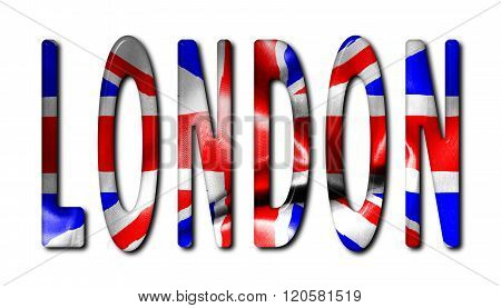 London Word With Flag Texture