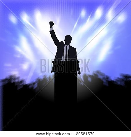 On the image is presented greeting the winner, active public on the background of the spotlights