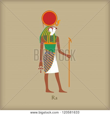 Ra, God of the sun icon, flat style