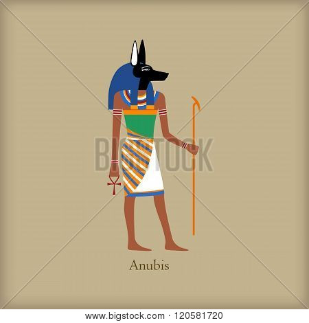 Anubis, God of the dead icon, flat style