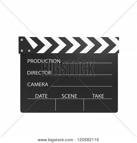 Movie clapper isolated on white background.
