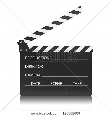 movie clapper board isolated on white background.