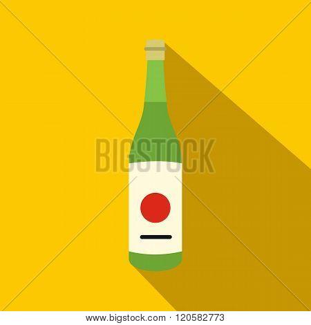 Sake bottle icon, flat style