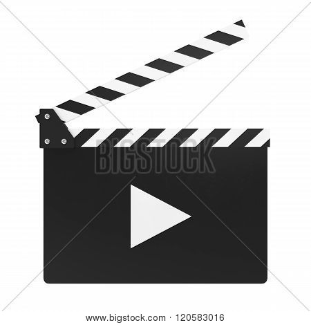Clapper movie board on white background