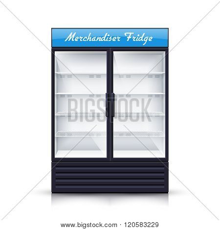 Two Panels Empty Fridge Realistic Illustration