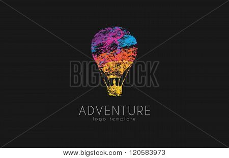 Balloon logo design. Air balloon logo. Adventure logo concept. Logo in grunge style. creative logo.