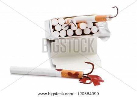 cigarette with a fishing hook.
