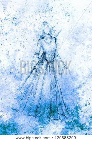 sketch of mystical woman and stick in beautiful ornamental dress.