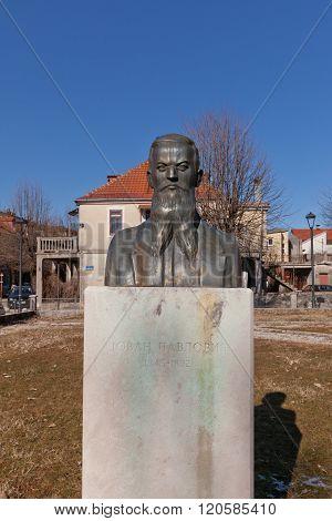 Monument To Journalist Jovan Pavlovic In Cetinje, Montenegro
