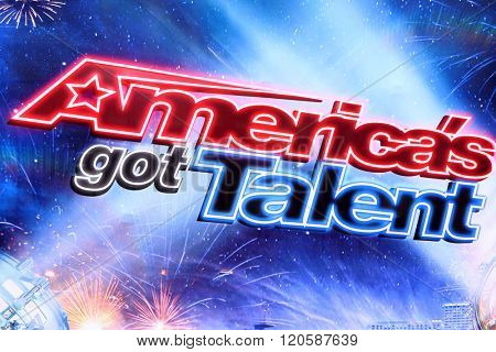 LOS ANGELES - MAR 3:  America's Got Talent Emblem at the America's Got Talent Judges Photocall at the Pasadena Civic Auditorium on March 3, 2016 in Pasadena, CA