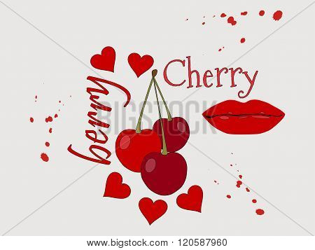 Collage Of Cherries, Lips And Heart. Text With Splashes. Grunge Style. Vector Illustration.