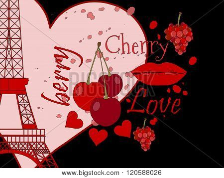Collage From The Eiffel Tower, A Cherry And A Kiss. Romantic Collage. Paris. France. Contemporary Ar