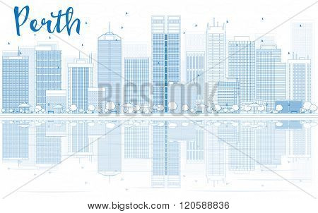 Outline Perth skyline with blue buildings and reflections. Vector illustration. Business travel and tourism concept with place for text. Image for presentation, banner, placard and web site.