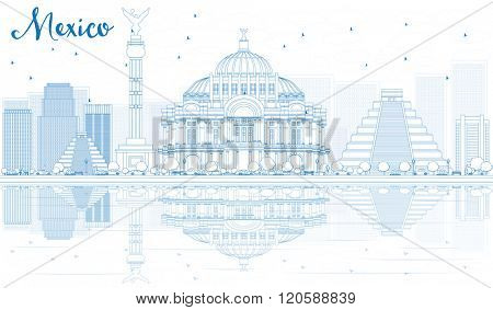 Outline Mexico skyline with blue buildings and reflections. Vector illustration. Business travel and tourism concept with place for text. Image for presentation, banner, placard and web site.
