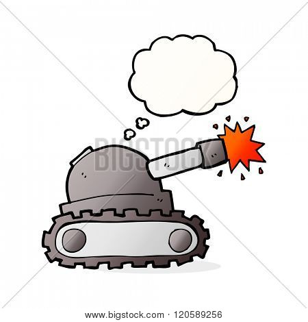 cartoon tank with thought bubble