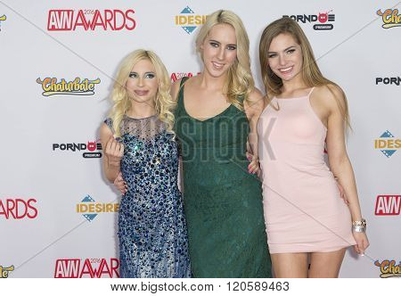 LAS VEGAS - JAN 23 : Adult film actresses Piper Perri Cadence Lux and Sydney Cole attend the 2016 Adult Video News Awards at the Hard Rock Hotel & Casino on January 23 2016 in Las Vegas.