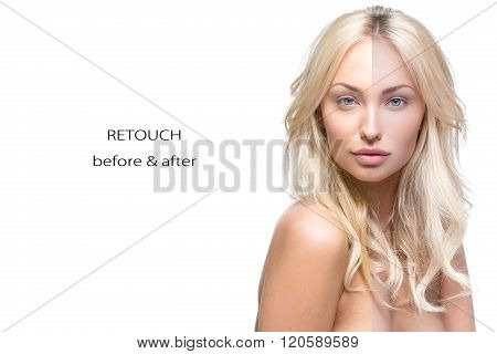 Beautiful woman before and after retouch