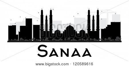 Sanaa City skyline black and white silhouette. Vector illustration. Simple flat concept for tourism presentation, banner, placard or web site. Business travel concept. Cityscape with landmarks