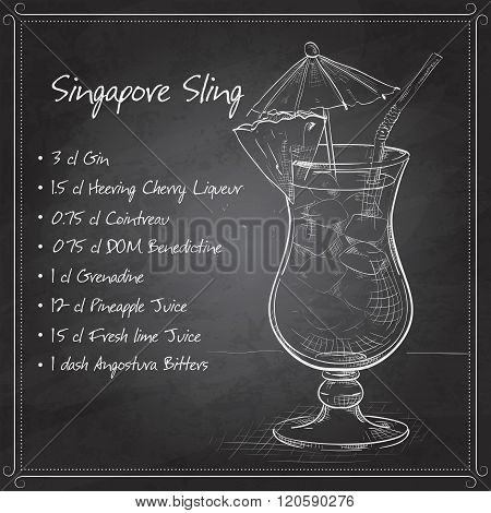 The Singapore Sling cocktail on black board