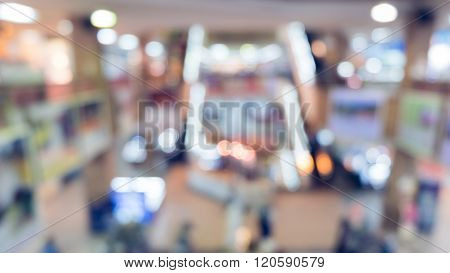 Blur Department Store Background With Bokeh Light Decoration In A Big Shopping Mall