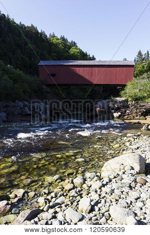 Covered bridge in Point Wolfe area in Fundy National Park New Brunswick Canada