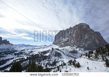 Saslong mountain peak in Dolomiti, Val Gardena, Italy