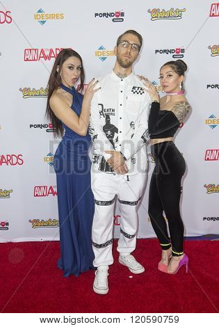 LAS VEGAS - JAN 23 : Adult film actress Mandy Muse adult film actor Bryan Gozzling and adult film actress Lil Brown Eyes attend the 2016 Adult Video News Awards at the Hard Rock Hotel & Casino on January 23 2016 in Las Vegas.