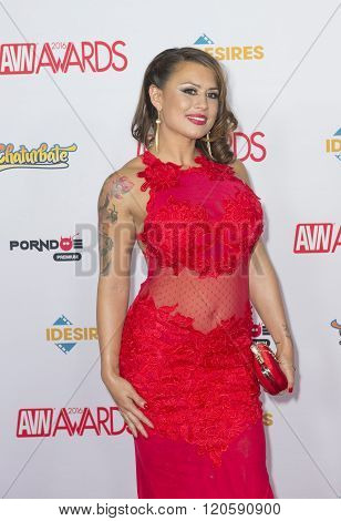 LAS VEGAS - JAN 23 : Adult film actress Eva Angelina attends the 2016 Adult Video News Awards at the Hard Rock Hotel & Casino on January 23 2016 in Las Vegas Nevada.