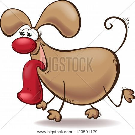 Cartoon Dog With A Big Tongue Out