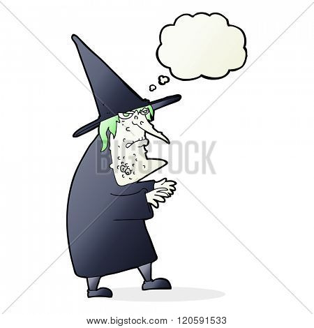 cartoon ugly old witch with thought bubble