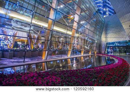 LAS VEGAS - DEC 18 : The Aria Resort and Casino in Las Vegas on December 18 2015. The Aria was opened on 2009 and is the world's largest hotel to receive LEED Gold certification