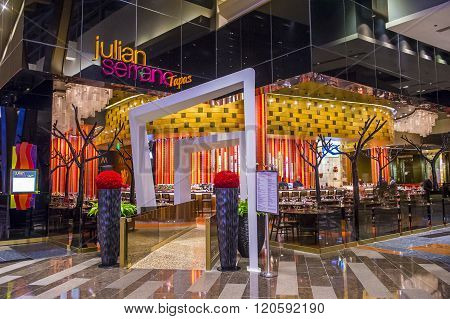 LAS VEGAS - DEC 18 : The Julian Serrano restaurant in Aria hotel in Las Vegas on December 18 2015. Chef Julian Serrano is a two-time winner of James Beard Award.