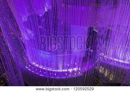 LAS VEGAS - DEC 18 : The Chandelier Bar at the Cosmopolitan Hotel & Casino in Las Vegas on December 18 2015. This tri-level chandelier encases the hotels 3 bars in illuminated crystals.