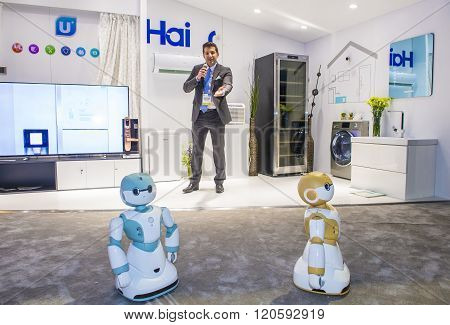 LAS VEGAS - JAN 08 : The Haier booth at the CES show held in Las Vegas on January 06 2018 CES is the world's leading consumer-electronics show.