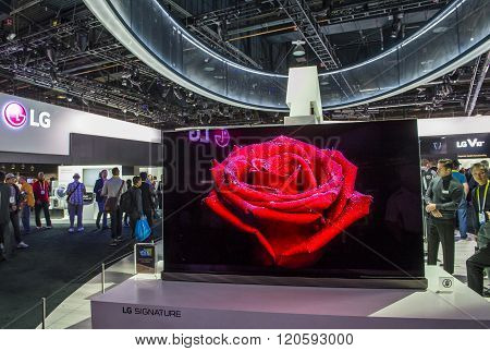 LAS VEGAS - JAN 06 : The LG booth at the CES show held in Las Vegas on January 06 2016 CES is the world's leading consumer-electronics show.